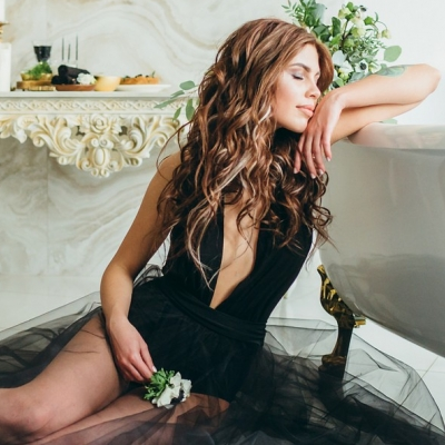 Я очарована... Black and Gold Evening Bride Boudoir